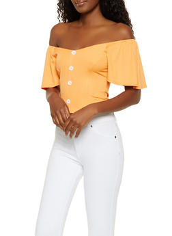 Off the Shoulder Button Front Crop Top - 3033058751841