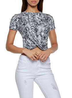 Snake Print Twist Front Top - 3033058751895