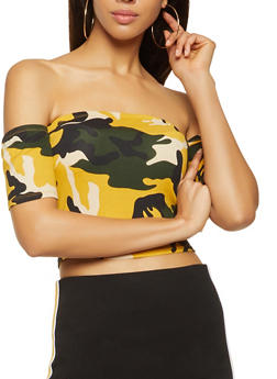 Camo Off the Shoulder Crop Top - MUSTARD - 3033058752160