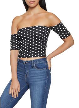 Polka Dot Off the Shoulder Crop Top - BLACK/WHITE - 3033058752161