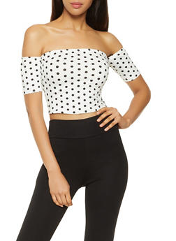 Polka Dot Off the Shoulder Crop Top - 3033058752161