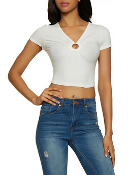 O Ring Ribbed Crop Top - 3033058752416