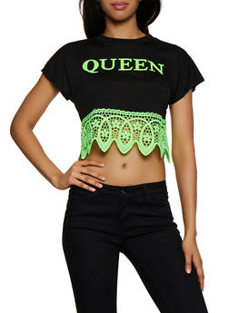 Queen 3D Graphic Crochet Trim Top - 3033058753485