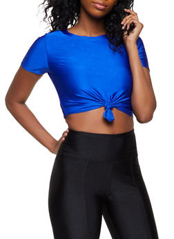 Spandex Knot Front Tee - 3033058753699