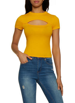 Cut Out Ribbed Knit Top - 3033058753710