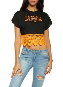 Love 3D Graphic Crochet Hem Top - 3033058753711