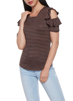 Striped Ruffle Sleeve Top - 3033058756857