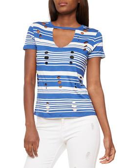 Striped Laser Cut Keyhole T Shirt - 3033058757509