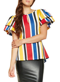 Striped Tiered Sleeve High Low Top - 3033074292008