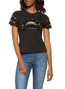Faux Pearl Studded Tee - 3033074292017