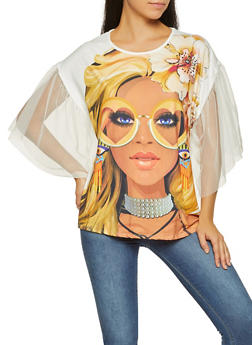 Face Graphic Mesh Sleeve Tee - 3033074292039