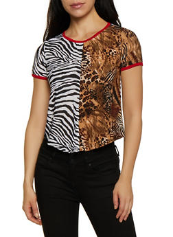 Mixed Animal Print Tee - 3033074293041
