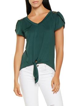 Lace Detail Tie Front Top - 3033074293113