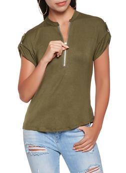 Solid Zip Neck Top - 3033074293114