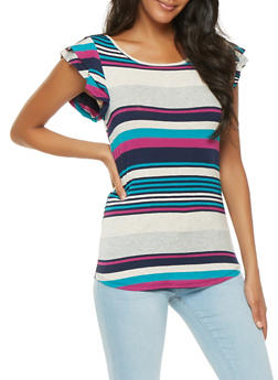 Striped Flutter Sleeve Top - 3033074293115