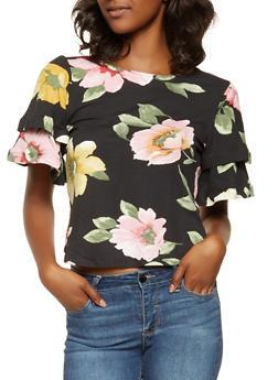 Tiered Sleeve Floral Tee - 3033074293148