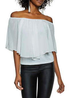 Off the Shoulder Chiffon Overlay Top - 3033074294134