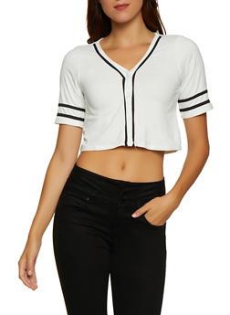 Soft Knit Cropped Baseball Shirt - 3033074295223
