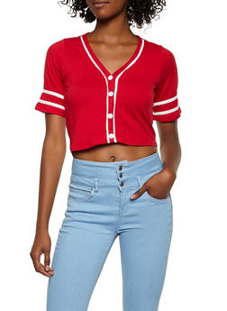 Soft Knit Cropped Baseball Shirt - 3033074295223