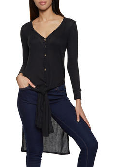 Rib Knit Button Front Duster - 3034015990085