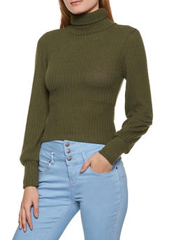 Brushed Ribbed Knit Turtleneck Sweater - 3034015990086