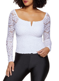Smocked Lace Top - 3034015990146