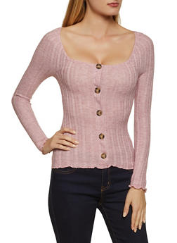 Square Neck Button Front Sweater - 3034015990158