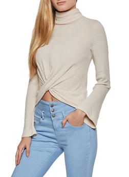 Ribbed Twist Front Turtleneck Sweater - 3034015990232
