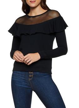 Fishnet Yoke Ruffled Sweatshirt - 3034015990542