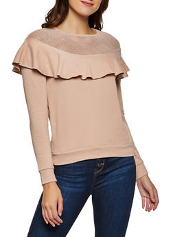 Fishnet Yoke Ruffled Sweatshirt - 3034015990542
