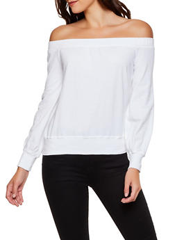 Off the Shoulder French Terry Sweatshirt - 3034015991055