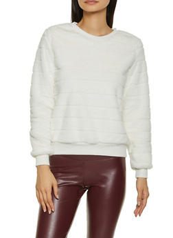 Faux Fur Crew Neck Sweatshirt - 3034015991216