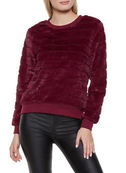 Faux Fur Crew Neck Sweatshirt - 3034015991216