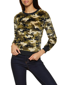 Camo Faux Fur Sweatshirt - 3034015991218