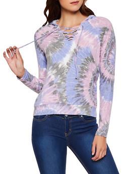 Tie Dye Brushed Knit Hooded Sweatshirt - 3034015991309