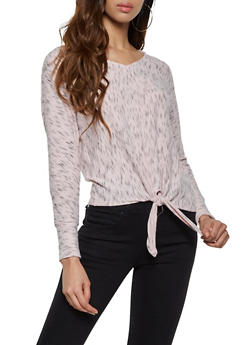 Marled Tie Front Sweater - 3034015991572