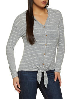 Striped Hooded Knit Top - 3034015991573