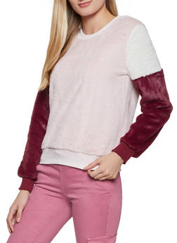 Color Block Faux Fur Sweatshirt - 3034015991590
