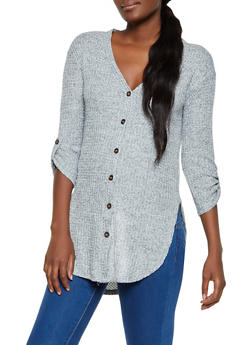 Waffle Knit Button Front Tunic Top - 3034015991712