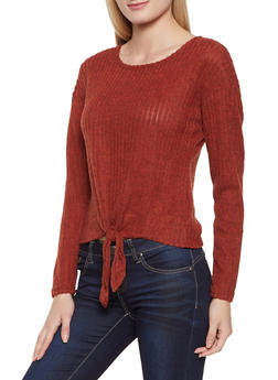Brushed Knit Tie Front Sweater - 3034015991719