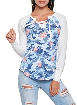 Camo Print Lace Up Tee - NAVY - 3034015992912