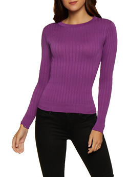 Solid Cable Knit Sweater - 3034038340002