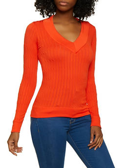Cable Knit V Neck Sweater - 3034038340004
