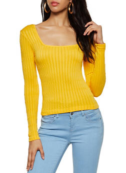 Cable Knit Square Neck Sweater - 3034038340005