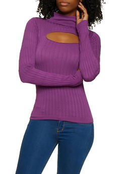 Cut Out Cable Knit Mock Neck Sweater - 3034038340006