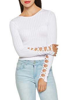 Ribbed Knit Caged Sleeve Crop Top - 3034038343006