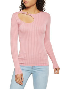 Ribbed Knit Cut Out Top - 3034038343008