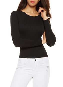 Long Sleeve Ribbed Knit Top - 3034038343010