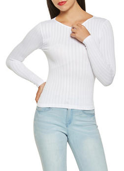 Long Sleeve Ribbed Knit Top - 3034038343010
