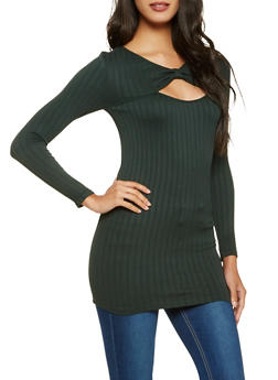 Ribbed Knit Cut Out Tunic Top - 3034038343011